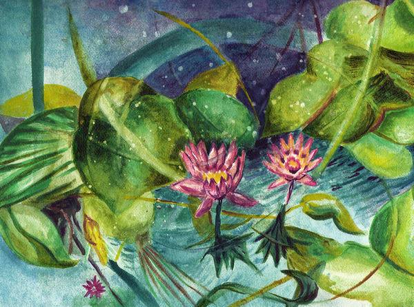 Midnight Pond, Original Art | mariselabracho