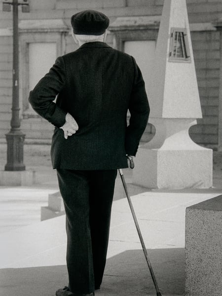 Man With Cane Madrid Photography Art | The World in Black and White