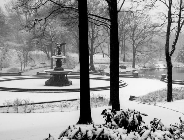 Bethesda Fountain In Snow Photography Art | Ben Asen Photography