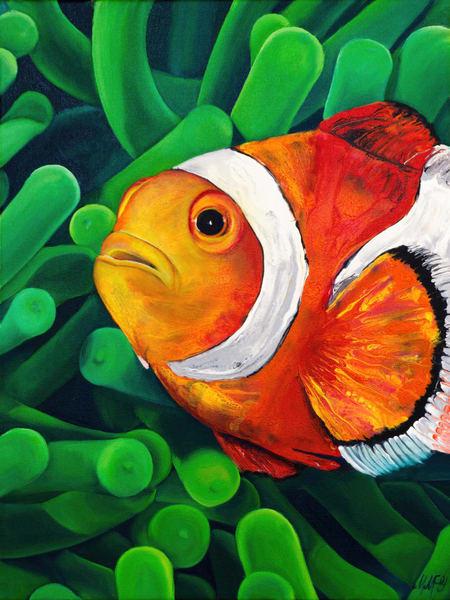 Clown And Anemone | Original Mixed Media Painting Art | MMG Art Studio | Fine Art Colorado Gallery