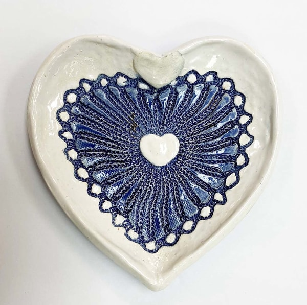 B Hirsh   Blue And White Heart Dish | Branson West Art Gallery - Mary Phillip