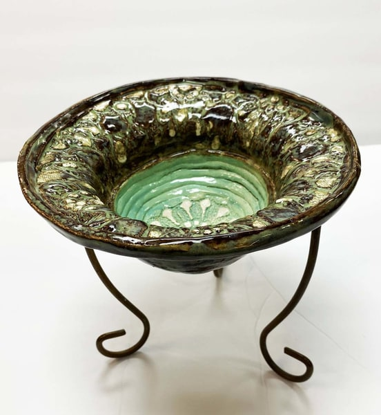 B Hirsh   Moss And Green Bowl On Stand | Branson West Art Gallery - Mary Phillip
