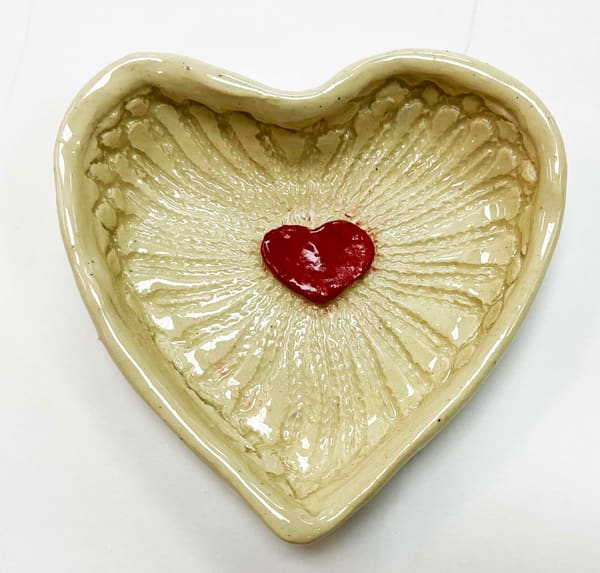 B Hirsh   Red And White Heart Dish | Branson West Art Gallery - Mary Phillip
