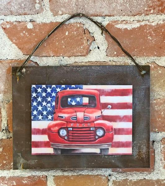 Americana Ford Rusted Metal Print