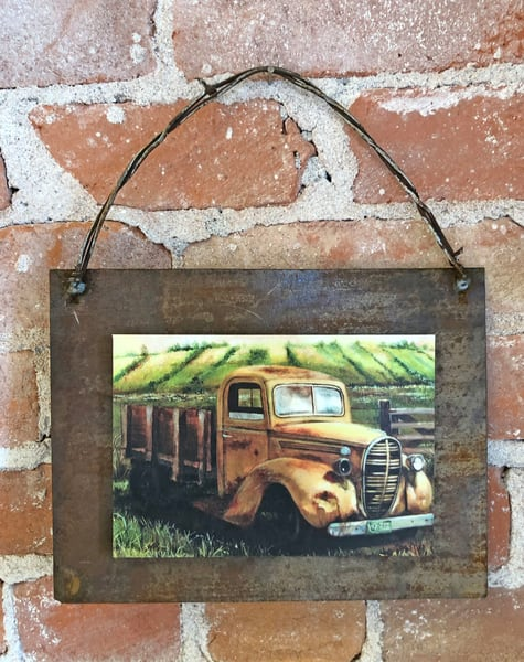 Golden Summer Ford Rusted Metal Print