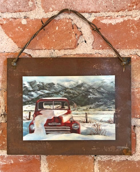 Snow Heavy Chevy Rusted Metal Print