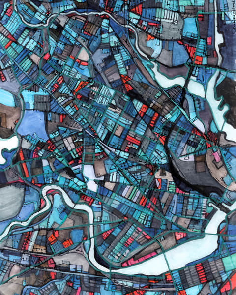 Cambridge, Ma  (Blue) Art | Carland Cartography