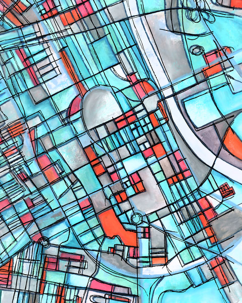 Abstract Map Prints of Nashville TN | Available for Home or Office!