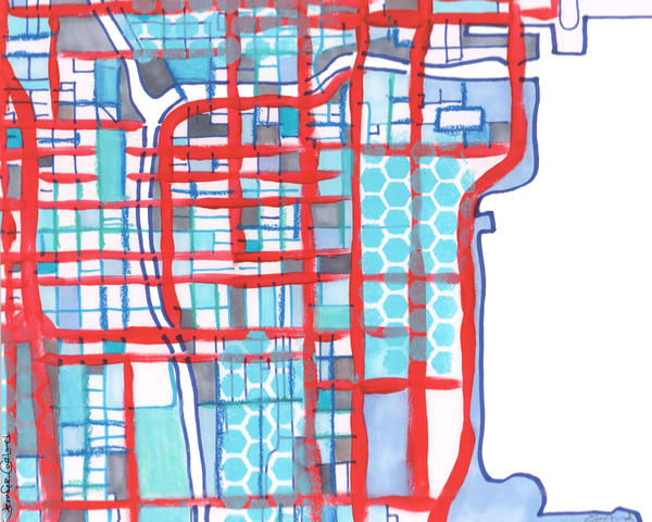 Chicago Loop (Blue) Art   Carland Cartography
