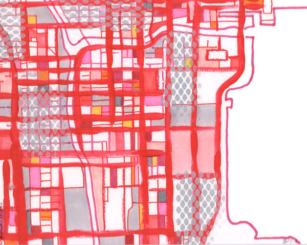 Chicago Loop (Red) Art   Carland Cartography