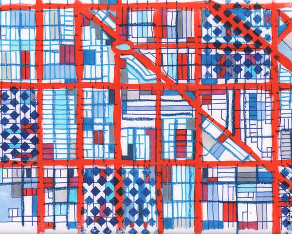 Logan Square, Chicago (Blue) Art | Carland Cartography