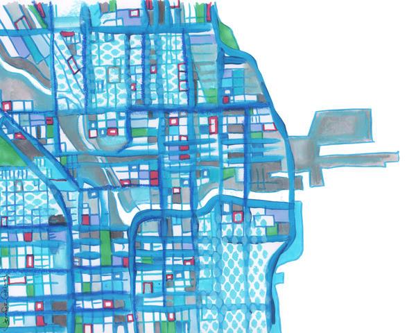 Navy Pier, Chicago (Blue) Art   Carland Cartography