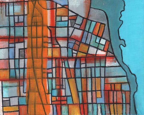 Evanston, Il (Orange) Art   Carland Cartography