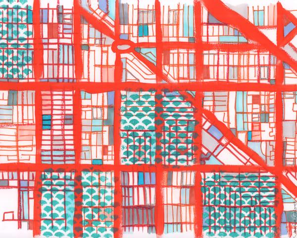 Logan Square, Chicago (Orange) Art   Carland Cartography