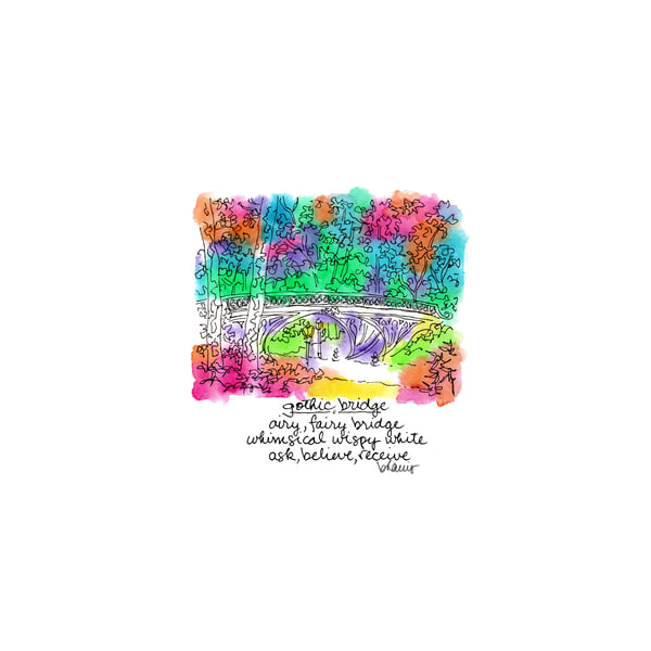 central park (gothic bridge), new york city:  tiny haiku art prints in cheerful watercolor available for purchase online
