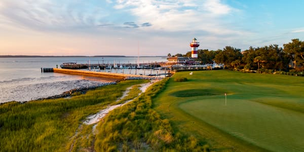 Harbour Town 18th Hole and Lighthouse at Sunset