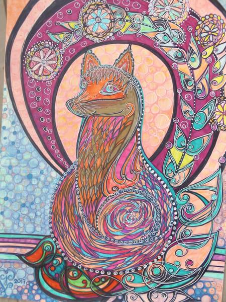 Fox In Garden Art   Cynthia Christensen Art