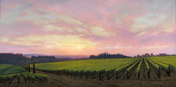 Terra E Cielo   Alloro Vineyard   48x96 Oils On Panel Art | Michael Orwick Arts LLC