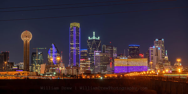 Dallas Lights Up To Celebrate Kobe Bryant City Wall Mural Photography Art | William Drew Photography