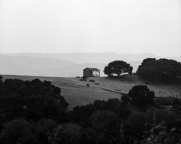 Hay Shed on Ridge - Black and White Landscape Photography