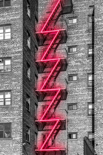 Neon Nyc Fire Escape Photography Art | KPBPHOTO