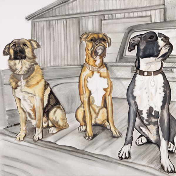 Junkyard Dogs in a Pickup by the Garage Art Prints by Marie Stephens Art