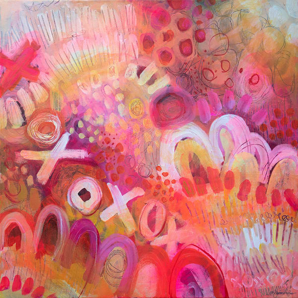 Pink Lemonade Xoxo, Original Painting Art   Jessica Hughes Fine Art