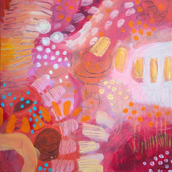 Pink Lemonade Sunny Day, Original Painting Art   Jessica Hughes Fine Art