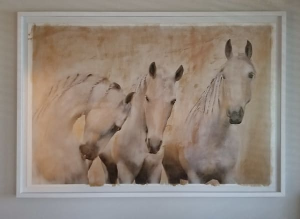 Golden Stallions   Mixed Media Framed Art | KJ's Studio