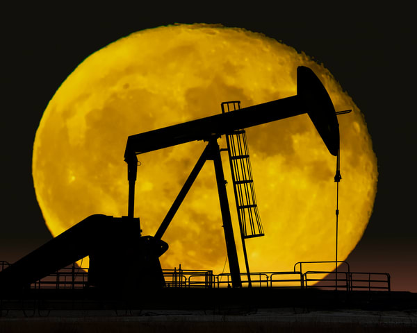 Texas Pump Jack Moon Rise Photography Art   Jim Livingston Art