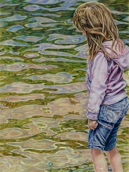 beach, child, art, realism, water