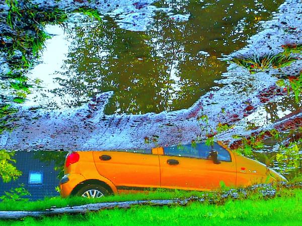 Panorama with orange car