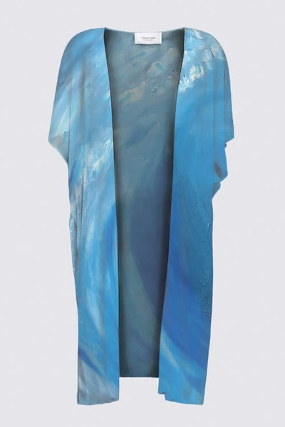 Blue Wave KIMONO WRAP designed by artist