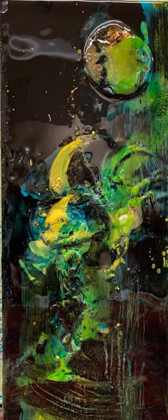 art, fine art, United States, Black, metallic paintings, turquoise, greens, yellows, encaustic paint, plaster of Paris, resin
