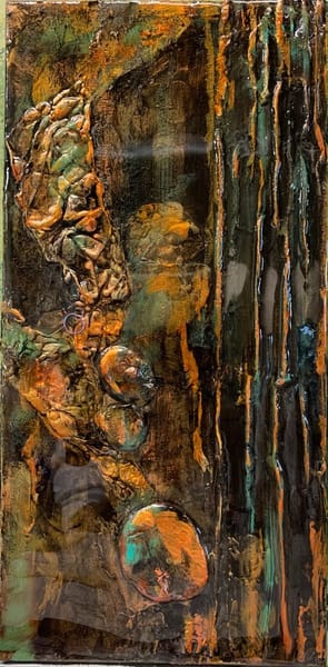 art, fine art, Black, copper, gold, turquoise, metallic paintings, plaster of Paris, hand-painted papers