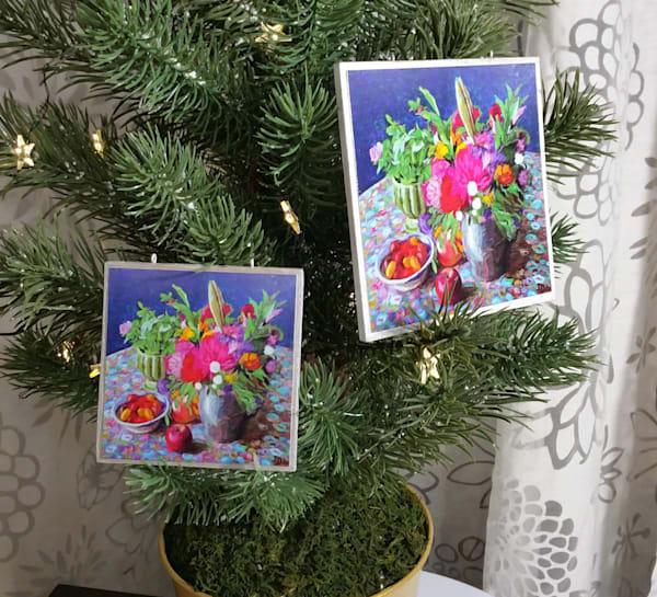 Flowers In Pewter Jar   Ornament   smalljoysstudio