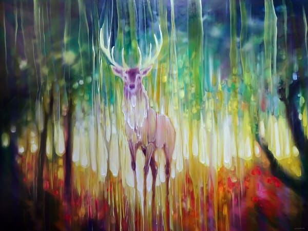 prints of forest elemental large deer stag in autumn forest