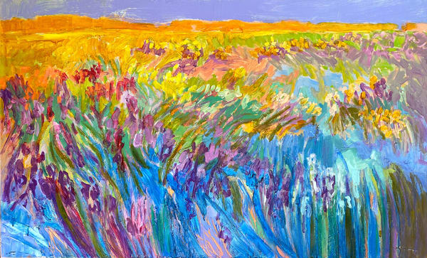 Large Abstract Marsh Landscape Oil Painting by Dorothy Fagan
