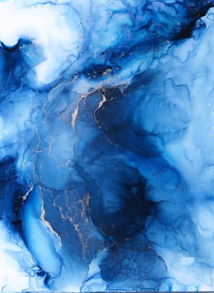 Original Blue Resin and Ink Artwork by Frankie Hsu