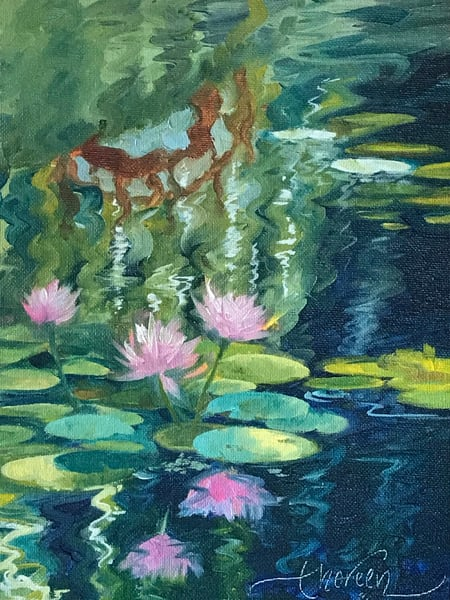 Lily Pond Reflections   Jan Thoreen Lewis Fine Art