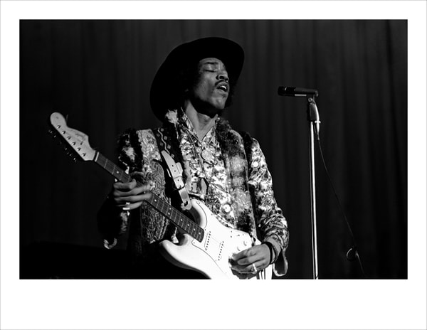 "Jimi Hendrix 22"" X 17"" Black and White Print"