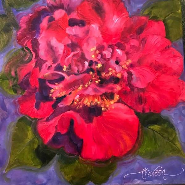 Red Camelia   Jan Thoreen Lewis Fine Art