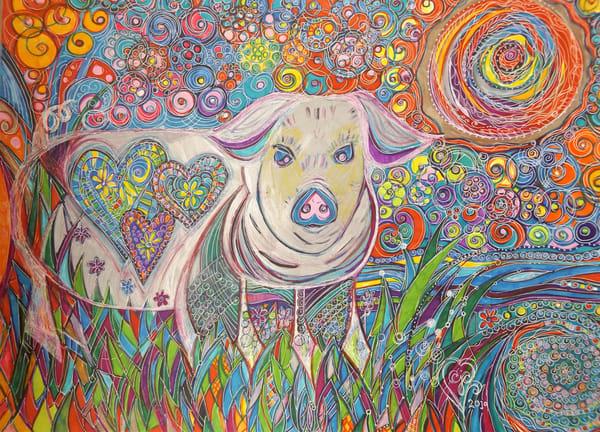 Vermont Pig's Smile Art   Cynthia Christensen Art