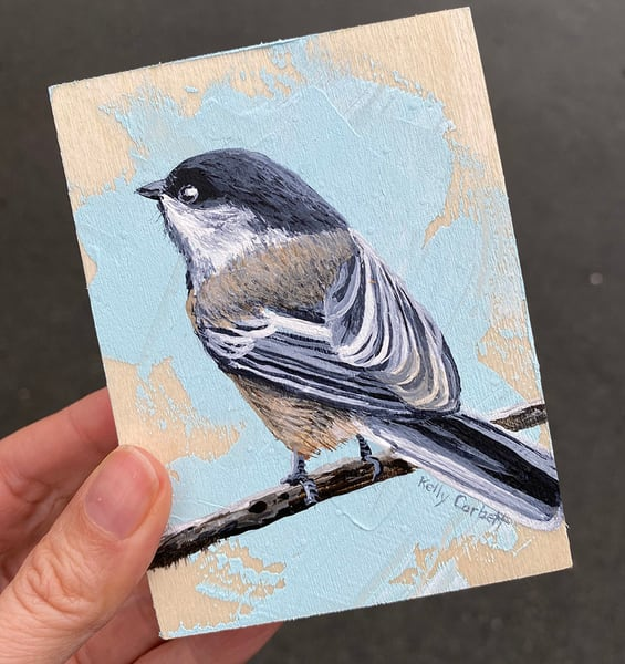 Small Chickadee #10 painting 4x3 inches
