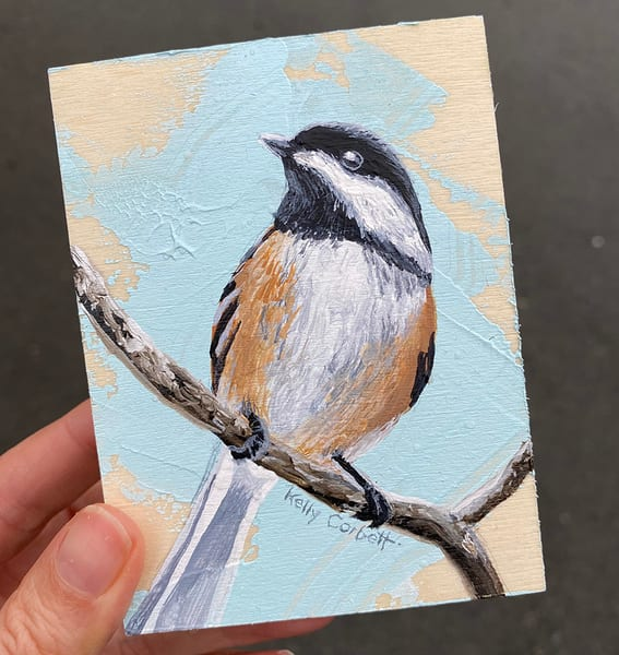 Chickadee painting #11, 4x3 inches