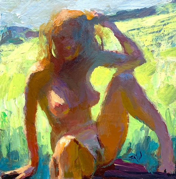 "Original acrylic painting titled ""Figure Outdoors"""