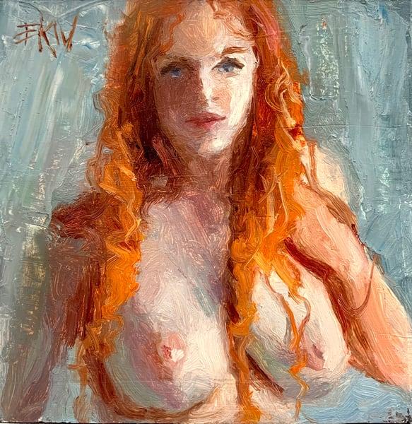 """Original oil titled """"Red Curls"""""""