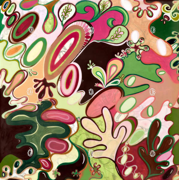#12 | Swim Puff (Bud) 12x12 India Ink Pen, Acrylic Paint, Beeswax, Oil Paint (Ready To Hang) Art | Cynthia Mosser Fine Art