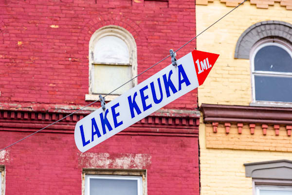 Lake Keuka sign in Penn Yan in the Finger Lakes of New York