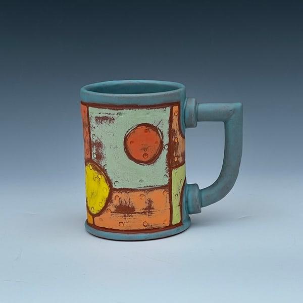 Riveted Metal Mug, Light Blue Glaze Art | Gerard Ferrari LLC